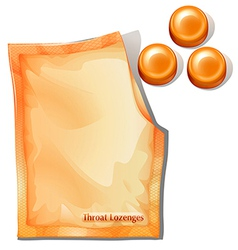 A pack of orange throat lozenges vector image