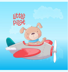 Airplane with a cute dog vector