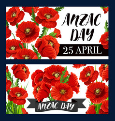 Anzac day remembrance anniversary red poppies vector
