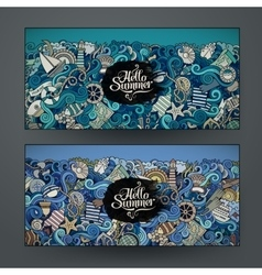 Banner templates set with marine theme vector