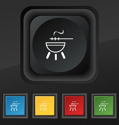barbecue icon symbol Set of five colorful stylish vector image