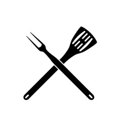 bbq barbeque tools crossed vector image