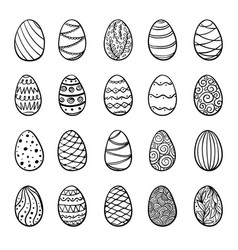 beautiful set doodle easter eggs isolated vector image