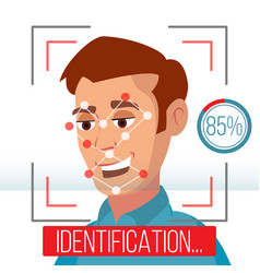 Biometric facial identification mobile app vector