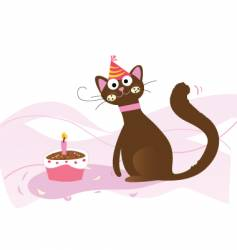 Birthday cat vector