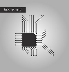Black and white style icon microchip vector