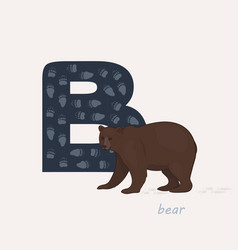 Blue letter b with bears vector