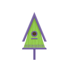 bright green birdhouse with purple roof and vector image