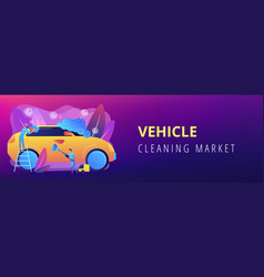 Car wash service concept banner header vector