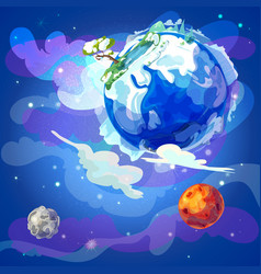 cartoon earth planet in space template vector image