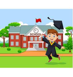 cartoon graduation boy in front school building vector image