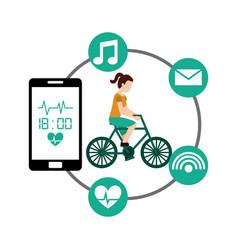cartoon woman riding bike sport smartphone heart vector image