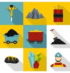 Coal icons set flat style vector