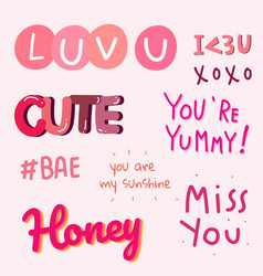 Collection valentines day typography vector