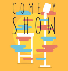 Comedy show poster with bar chair and microphone vector