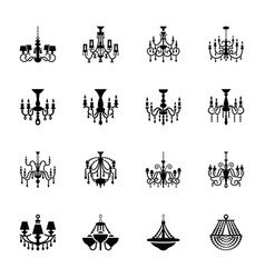 Crystal chandelier solid icons vector
