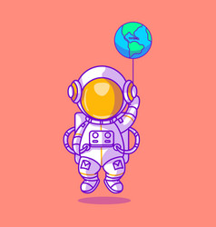 Cute astronaut playing with earth balloon icon vector