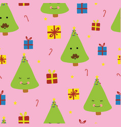 cute christmas trees with faces smiling vector image