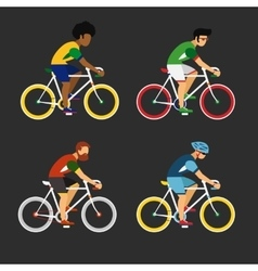 Cycling sport bicycle men icons set road bike vector