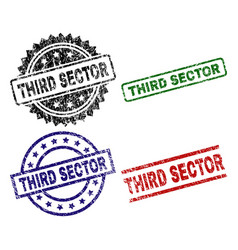 damaged textured third sector seal stamps vector image