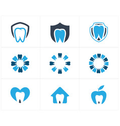 dental logo tooth in heart home and apple icon vector image