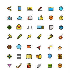 Different line style color icons set vector image