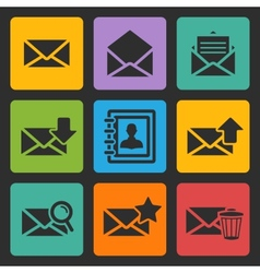 email black icons set vector image