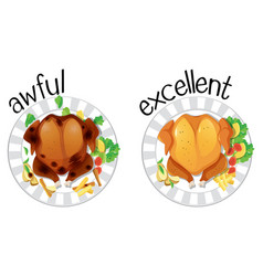 English opposite word awful and excellent vector