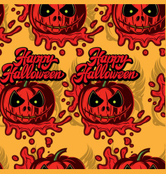 festive background with a scary pumpkin and an vector image