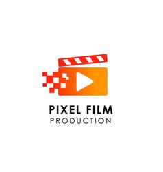 Film play logo design template film studio icon vector