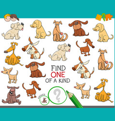 Find one of a kind with dog characters vector