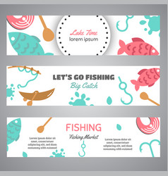 fishing banner lake time text banners with vector image