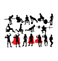 Fitness and gym silhouettes vector