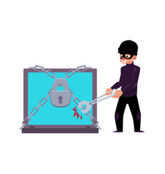 Flat cartoon hacher data attack concept vector