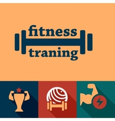 Flat fitness and health emblems vector