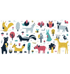 Forest animals big collection cute woodland vector
