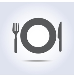 Fork plate knife icon vector image