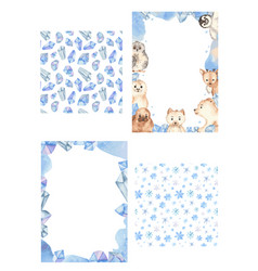 frames and seamless patterns ice arctic snowflakes vector image