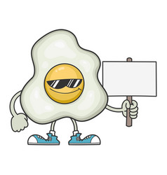 Fried egg cartoon with sunglasses holding sign vector