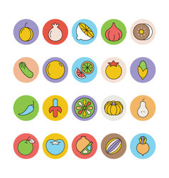 Fruits and Vegetables Icons 5 vector