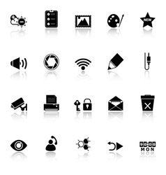 General computer screen icons with reflect on vector image