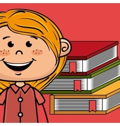 girl cartoon laptop books vector image