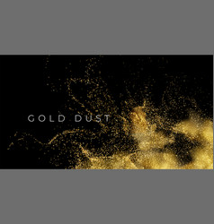 Gold sequins glitter dust isolated on black vector