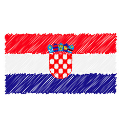 hand drawn national flag of croatia isolated on a vector image