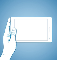 Hand Holding Tablet Horizontal vector image