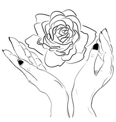 hands holding a rose flower isolated outline vector image