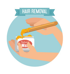 Hands using hair removal product vector