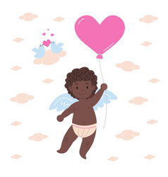 happy african cupid holding balloon vector image