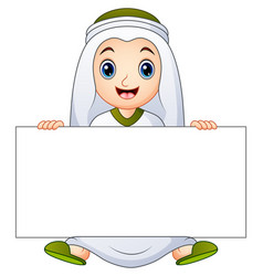 Happy muslim kid holding blank sign vector
