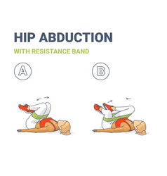 Hips abduction with resistance band girl exercise vector